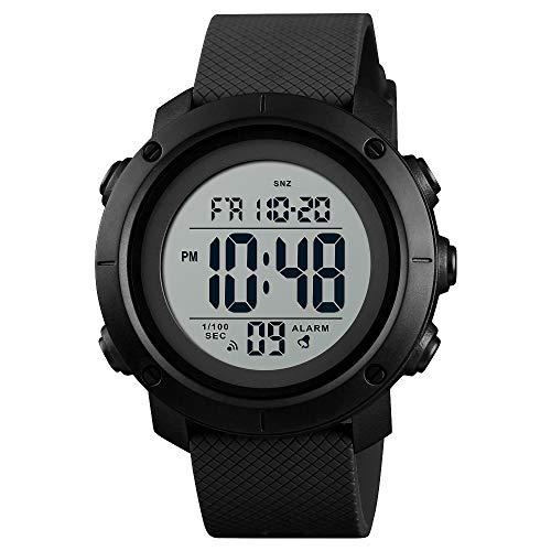 Reloj deportivo digital resistente al agua, militar, negro, grande, para hombre, con cronómetro, luz trasera LED, alarma, fecha, reloj de pulsera., Negro, blanco, digital