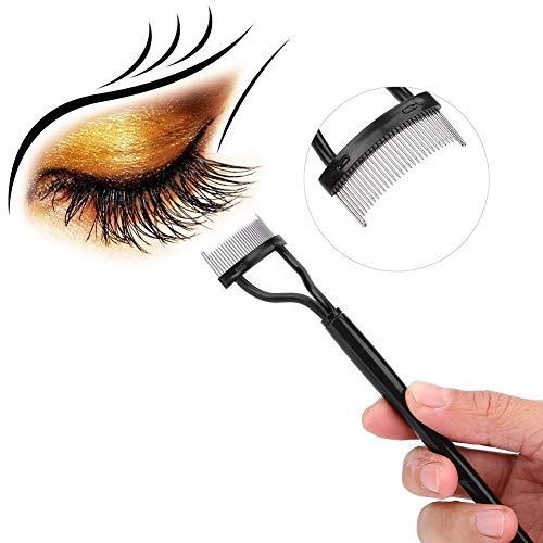 Qkiss Brosse de Sourcil, Peigne à Sourcils Durable de Brosse Métallique Séparateur de Cils Pinceau de Maquillage en Inox pour Cils Sourcils Outil Cosmétique, Noir