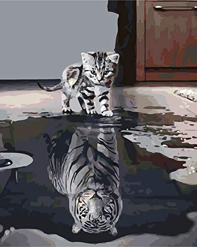 WOWDECOR DIY Malen nach Zahlen für Erwachsene Kinder Mädchen, Katze oder Tiger 40x50 cm Vorgedruckt Leinwand-Ölgemälde (mit Rahmen)