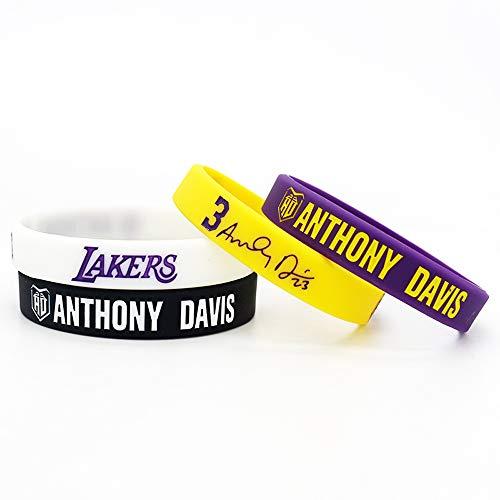 Baloncesto de la NBA Anthony Davis Retrato Pulsera número 23 DE Silicona Deporte Inspirador Palabra Pulsera 4 Piezas