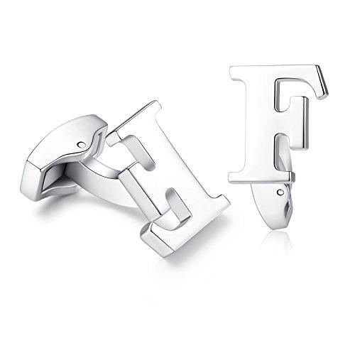 Hanana inicial alfabeto letra Gemelos para hombres camisa, Plata Acero Inoxidable, ideal para negocio boda regalo de Navidad (F)