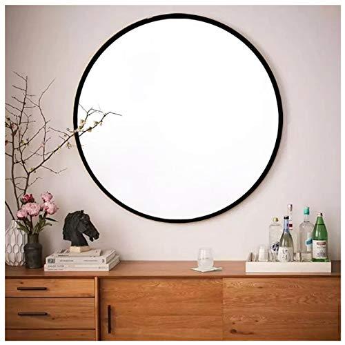 AUFHELLEN Rund Spiegel mit Schwarz Metallrahmen HD Wandspiegel aus Glas 60cm für Badzimmer, Ankleidezimmer oder Wohnzimmer Schminkspiegel (Schwarz, 60cm)