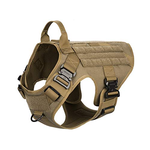 ICEFANG Tactical Dog Harness,K9 Working Dog Vest,No Pulling Front Clip Leash Attachment,Hook and Loop Panel for ID Badge,Sturdy Handle (M (25'-31' Girth), Coyote Brown-4x Metal Buckle)
