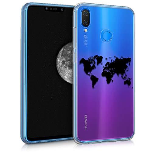 kwmobile Huawei P Smart+ (2018) / Nova 3i Hülle - Handyhülle für Huawei P Smart+ (2018) / Nova 3i - Handy Case in Travel Umriss Design Schwarz Transparent