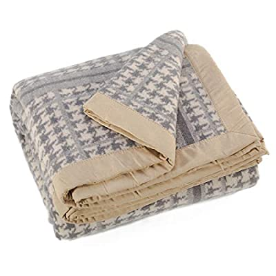 spencer & whitney Bed Blankets Wool Blanket Large Bed Blankets Cream Houndstooth Blanket 100% Wool Farmhouse Blanket Thick Warm Cover Blanket Queen Blankets for Bed