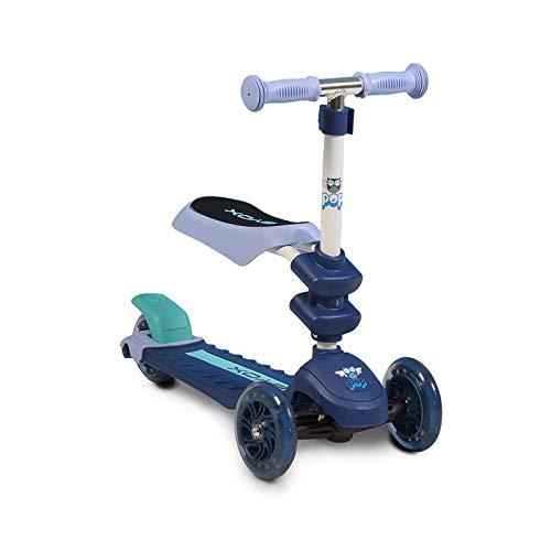 Byox Kinderroller Pop 2 in 1, Roller u. Laufrad, 3 PU Räder, ab 3 Jahre, Alu blau