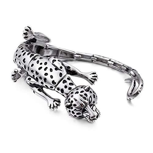 YZJYB 316L Edelstahl Gliederkette Armkette, Schmuck Groß Schwer Herren Armband Mit Leopard, Gotik Biker Armschmuck, Silber Panzerkette, Geeignet Für Alle Kleidungsstücke