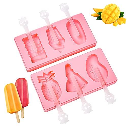 Orapink Silikonowe foremki do lodów Ice Pop Forms Maker z arbuzowym ananasem i kształtami lodów Bez BPA Wielokrotnego użytku do Cake Pops Kids Tolder Babies and Homemade Popsicle - 2 sztuki