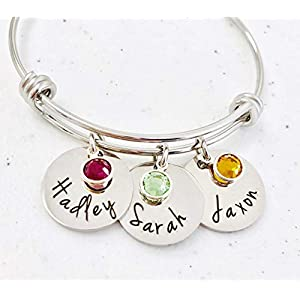Personalized Bangle Bracelet Birthstone Names Mothers
