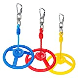 Rainbow Craft 3-Pack Ninja Wheel Obstacle for Kids - Swing Monkey Wheel for Ninja Warrior Obstacle Course for Kids Ninja Slackline Kits - Blue, Red&Yellow Color in Set