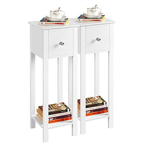Yaheetech White Slim Bedside Table Set of 2, Wooden Nightstand with Drawer & Shelf, Slim Tall Telephone Table Narrow Hallway Side Table, 25x25x70cm