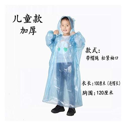 Regenjassen met pet voor buiten reizen,Geïntegreerde transparante draagbare regenjas, noodponcho-blauw dikke kinderen_10,Regenjassen voor volwassenen,