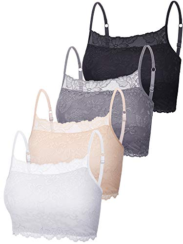 New 4 Pieces Women's Lace Cami Stretch Lace Half Cami Breathable Lace Bralette Top for Women Girls (Black, White, Beige, Grey, Small)
