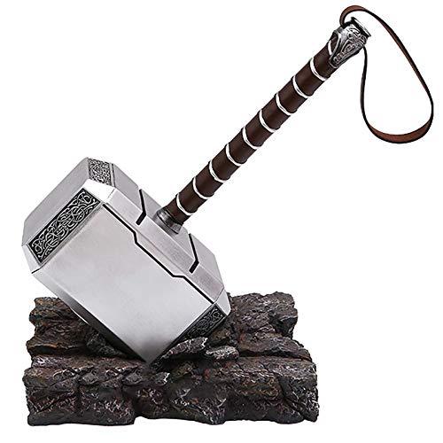 sookin Thor's Hammer Martillo de Thor Resina con Base de Soporte MjöLnir Halloween Cosplay Costume Prop Martillo de Batalla de Thor 1: 1 Cosplay Arma de Utilería 45cm Thor Thor's Hammer
