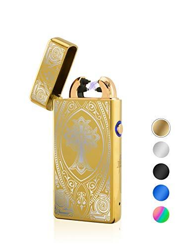 TESLA Lighter TESLA Lighter T08 Lichtbogen Feuerzeug, elektronisches Feuerzeug, wiederaufladbar per USB inkl. Geschenkverpackung, Kreuz Gold Gold