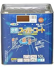 アサヒペン ペンキ 水性スーパーコート 水性多用途 ブラウン 10L