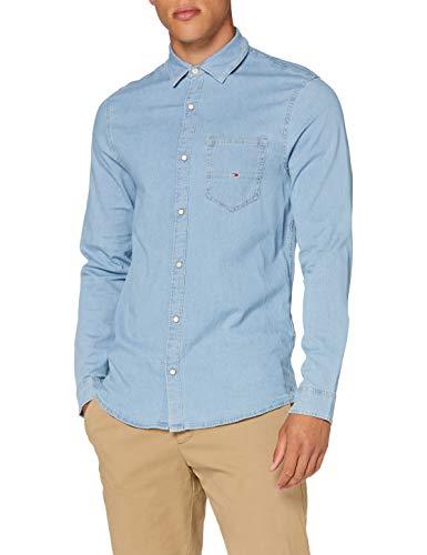 Tommy Jeans Herren TJM Stretch Shirt Hemd, Blau (Denim Light), M
