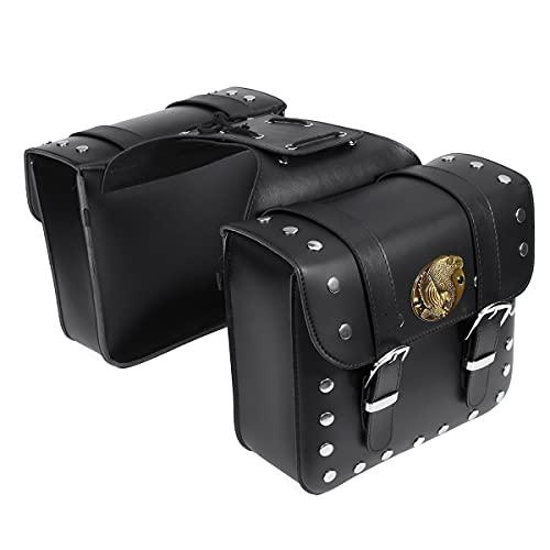 HFDDF Bolsa De Motocicleta, 2Pcs Motorcycle Leather Side Side Saddle Bag Black