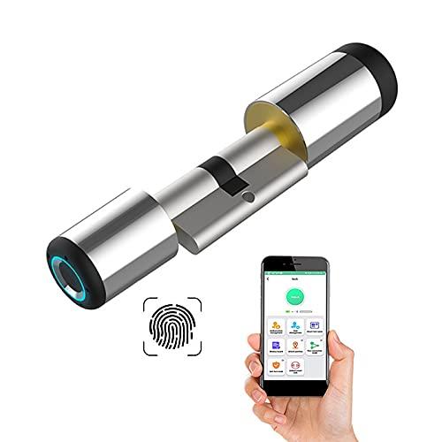 Fingerprint Tür-Schließzylinder 60MM 30/30 Fingerabdruck & Bluetooth App geöffnet DIY schnell Installation Geeignet für die meisten EU-Türschlösser