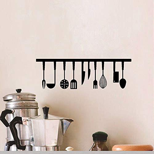 Kitchen Tools and The Kitchen is The Heart of The Home Lovely Quote Vinyl Wall Decals, Removable Knife Fork Spoon Art DIY Quotes Stickers for Kitchen Livingroom Dining Room Home Decoration, Set of 2