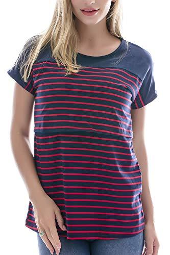 Smallshow Still-Oberteile Kurzärmlige gestreifte Lift-up-Hemden für stillende Frauen,Red Stripe M