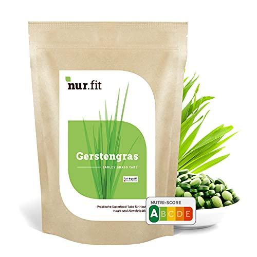 nur.fit by Nurafit Gerstengras Presslinge 500g / 2000 Stück – rein natürliche Tabs aus Gerstengras mit Spirulina ohne Zusatzstoffe – Gerstengrastabletten als Superfood mit Vitaminen und Eisen