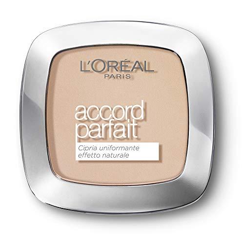 L'Oréal Paris MakeUp Cipria Uniformante Accord Parfait, Cipria in Polvere Uniformante e Fissante, 2R Vanille Rosé, Confezione da 1