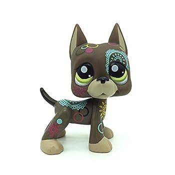 Rare Mini Pet Toys #1439 Tattoo Brown Chocolate Flowers Great Dane Dog Puppy Animal Figure Gift