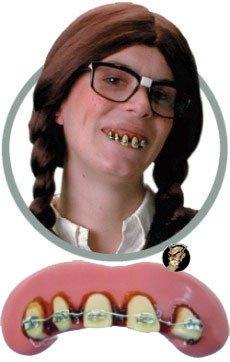 Zahnspange Falsche Zähne rosa weiss silber