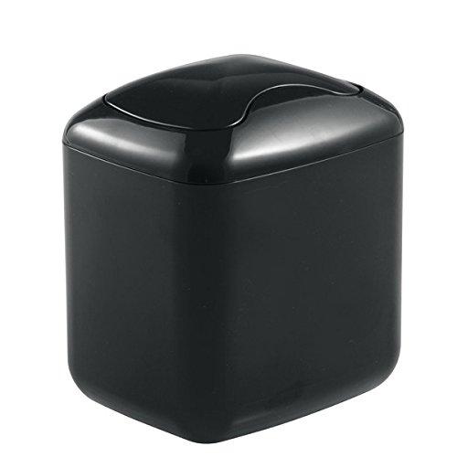 mDesign Cubo de Basura - Contenedor Basura de plástico Color Negro con 2,7 litros de Capacidad - Ideal para la Cocina, baño o como Papelera Oficina