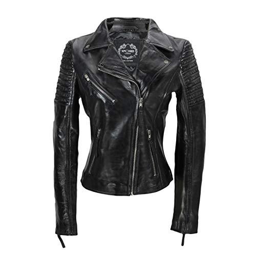 Xposed Chaqueta de motociclista para mujer, estilo vintage, ajustada, suave, de cuero auténtico, talla UK 6-24, color Negro, talla X-Large