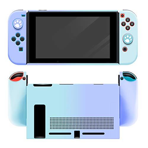 【Nintendo switch対応・シリコンケース】スイッチ カバー 5点セット ソフトケース Joy-Conカバー アナログスティックカバー 肉球カバー 分体式 全面保護ケース 耐久性 柔軟で変形ににくい キズ防止 衝撃吸収 着脱簡単 指紋防止 (ブルー/パープル)