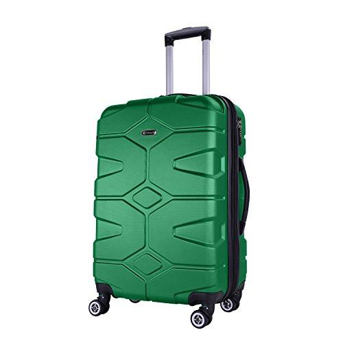 SHAIK SERIE RAZZER SH002 DESIGN PMI Hartschalen Kofferset, Trolley, Koffer, Reisekoffer, 4 Doppelrollen, 25% mehr Volumen durch Dehnfalte (Grün, M -...