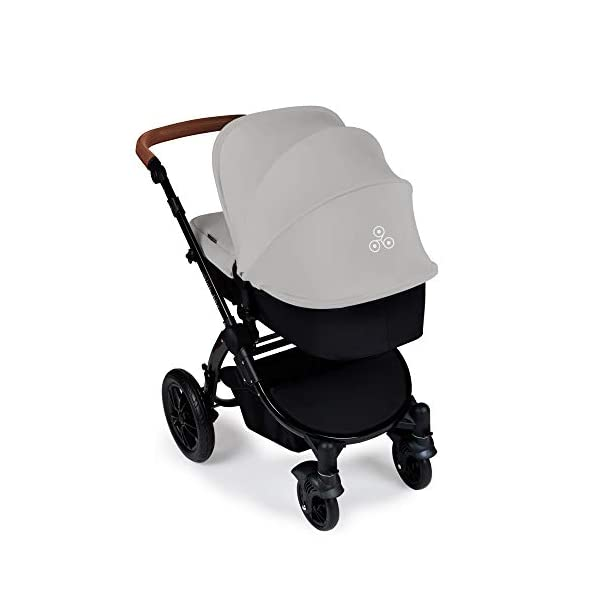Ickle Bubba Stomp V3 2-in-1 Stroller System | Carrycot & Pushchair | Silver on Black Frame Ickle Bubba TWO-IN-ONE TRAVEL SYSTEM: Features carrycot and reversible pushchair. Pushchair suitable from 6 months to 22kgs (approx. 4 years old) – forward & rear facing option ADJUSTABLE HANDLEBAR: 5-position handlebar is comfortable for parents of varying heights. DELUXE FOAM TYRES: allows for a smooth ride, easy press and release single step foot brake locking system 4