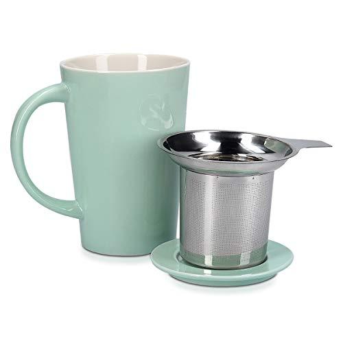 Navaris Taza de cerámica con Tapa - Taza con Filtro para Hacer té infusiones o tisanas - con infusor de Acero Inoxidable - 350ML - Verde