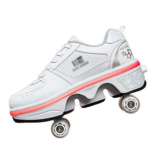ZHYX 2in1 Mehrzweckschuhe Schuhe Mit Rollen Skateboardschuhe,Inline-Skate,Verstellbare Quad-Rollschuh Stiefel Skateboardschuhe Kann 7 Arten Von Licht Emittieren,37