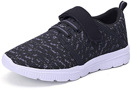 Abertina Kids Lightweight Breathable Running Sneakers Easy Walk Sport Casual Shoes for Boys Girls, Black Gray, 8.5 Toddler
