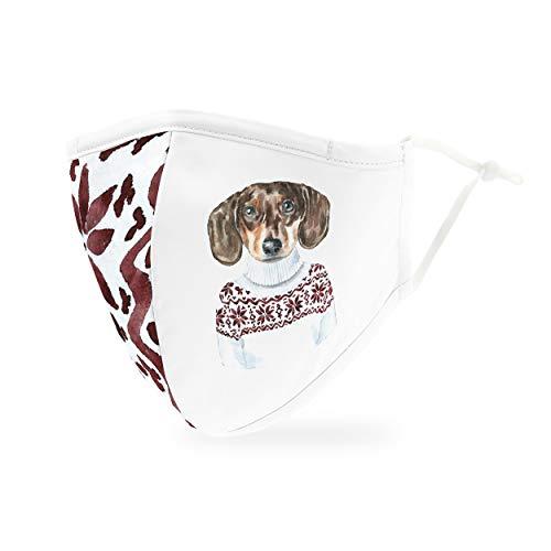 Weddingstar waschbare, Mundschutzmasken aus Stoff. Wiederverwendbar und verstellbar mit Staubfiltertasche - Festlicher Hund