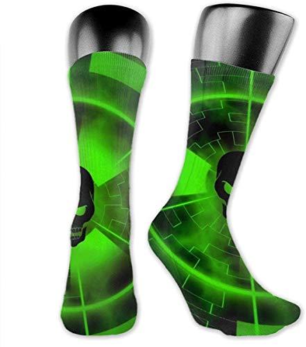 NCH UWDF Neongrüner Schädel Wissenschaft beängstigendes Thema Neuheit Crew Kleid Socken, Wicking Casual Boot Socken