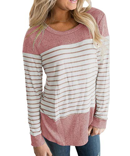 Vemvan Womens Long Sleeve Round Neck T Shirts Color Block Striped Casual Blouses Tops Red