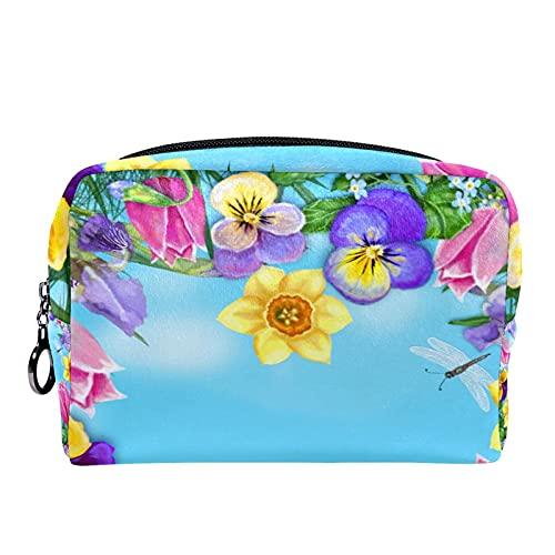 Estuche cosméticos Viaje portátil Organizador Bolsas Maquillaje Any Tulip Daffodil Iris Ladybug Butterfly Flores Frame Cremallera Bolsillo Grande Almacenamiento