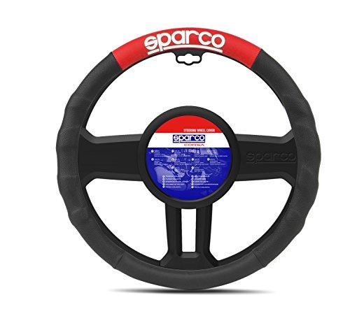 Sparco SPC1111RS Funda Universal Volante Coche, Negro/Rojo