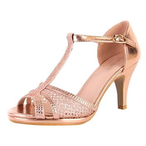 cc19b92db21 SHU CRAZY Womens Ladies Metallic Diamante High Heel Peeptoe Bridal Dressy  Fashion Sandals Shoes - L59