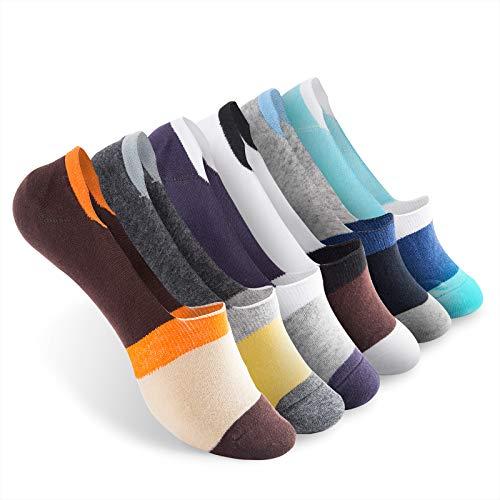 Vkele 6 Paar Damen unsichtbare Füßlinge aus Baumwolle Bunte Socken Sternchen 39 40 41 42 orange gelb braun blau grau weiß