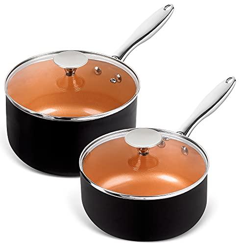 MICHELANGELO Saucepans, 2QT & 3QT Copper Saucepan Set With Non-stick Ceramic Interior For Multipurpose Use, Nonstick Saucepan With Lid, Copper Small Pots 2 Quart & 3 Quart