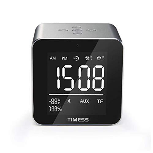 Manyao Reloj Despertador durmientes Pesados habitación de los niños pequeña Oficina LED Relojes Gran Pantalla Digital de la Temperatura Altavoz Espejo Plata Dimmer