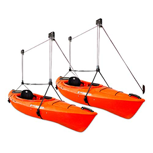 StoreYourBoard 2 Pack Kayak Ceiling Storage Hoist, Hi-Lift Overhead Rack, Indoor Garage Home Hanger, Canoes Paddleboards Boats, Heavy Duty Adjustable Straps, Easy Lifting Accessory (Pro)
