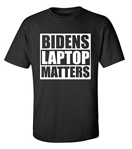 Camiseta Biden's Laptop Matters engraçada político BLM adulto manga curta, Preto, 5X-Large