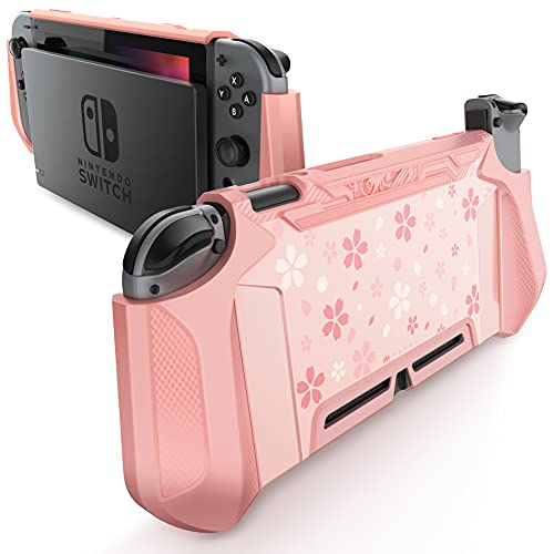 Mumba Dockable Case Compatible for Nintendo Switch, [Blade Series] TPU Grip Protective Cover Case with Ergonomic Design and Comfort Grip (Pink)
