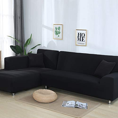 UALSD Sofa Cover Stretch Corner Non-Slip L Shape Elastic Fabric 1/2/3/4 Seater Slipcover Chair Couch All-In Clusive Sofa Protector Printing Plush Universal 3Seater(190-230cm) black